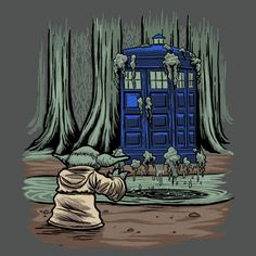 doctor-who,yoda,Star Wars,art,beautiful pictures Doctor Who Tumblr, Doctor Who Art, Star Wars Quotes, Star Wars Humor, Dr Who, Crossover, Star Wars Wallpaper, Cosplay, Film Serie