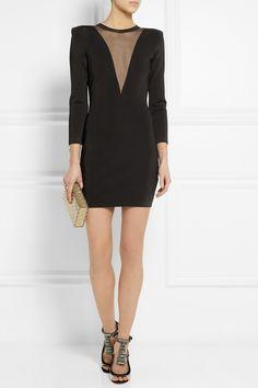 Balmain|Stretch-knit and gauze mini dress|NET-A-PORTER.COM