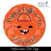 Halloween Gift Tags with Pumpkin on Orange
