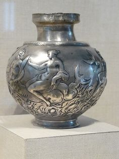 Silver aryballus (oil flask) with repousse decoration depicting Nereids riding tritons Roman 2nd century CE | Flickr - Photo Sharing!