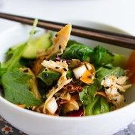 Healthy Asian Chicken Salad   Chez Us Asian Chicken Salads, Chicken Salad Recipes, Healthy Salads, Healthy Recipes, Cooking For A Group, Large Salad Bowl, Salad Ingredients, Roasted Chicken, Light Recipes