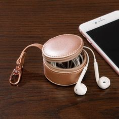 Rose Gold Zip-N-Store Earbud Holder - This zip-secure cute leather storage case is ideal for all types of earbuds Earbud Holder Diy, Apple Watch Bands Fashion, Cute Headphones, Cute Wallets, Travel Cosmetic Bags, Leather Accessories, Corporate Gifts, Organizer, Leather Working