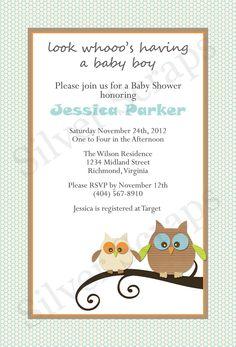 Look Whooo's Expecting a Boy Custom Owl Baby Shower Invitation - Boy Blue Aqua Orange Green Beige Brown Owls Theme - 5 Printable DIY Designs. $15.00, via Etsy.