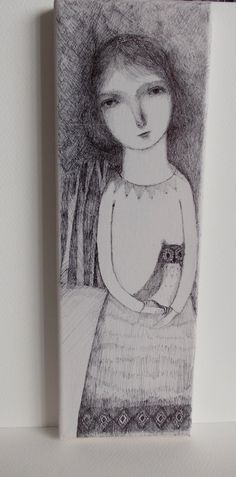 RESERVED The Owl Lady  original drawing on canvas by maidolls, £45.00