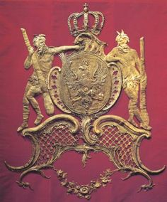 Coat of arms in gold embroidery for throne, by Mathias Immanuel Heynitschek, Berlin around 1750