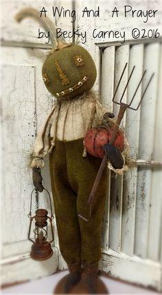 Earlywork- A Wing and a Prayer Primitive Scarecrows, Primitive Halloween Decor, Primitive Pumpkin, Primitive Folk Art, Primitive Crafts, Primitive Christmas, Diy Scarecrow, Americana Crafts, Halloween Doll