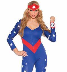 #CaptainAmerica #Costume Large Women Sexy Blue #Cosplay #Superhero #Marvel #Halloween Regular & #PlusSize Available