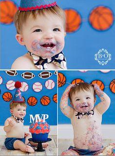 sports theme smash cake #boydandolsonphotography smash cake photography https://www.facebook.com/BoydandOlsonPhotographyLLC