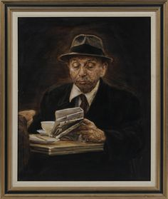 "Bernard Safran. ""The Cup of Coffee"". This isn't the prettiest old man, but it's a fun piece that I would love to have around me in the morning time. Sold for $1,180 on March 12, 2012."