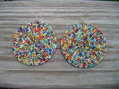 1 pair African Zulu Seed Bead Earrings Kenyan by Sandoodles