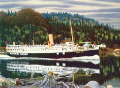 The Coastal Steamer Princess Mary Beaver Hall, Emily Carr Paintings, Group Of Seven, Princess Mary, Canadian Artists, Tall Ships, Outdoor Art, Vancouver Island, Steamer