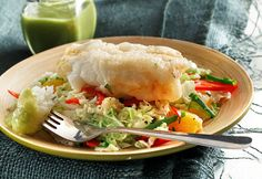 Crispy Tempura Cod over Napa Cabbage Slaw recipe made with canola oil by the Culinary Institute of America
