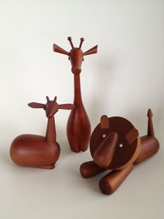 Vintage Japanese wooden mid century figurines