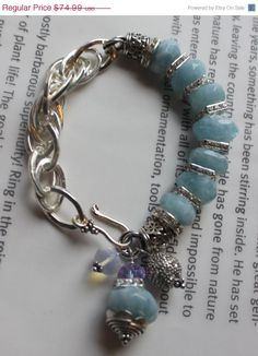 ON SALE chunky charm bracelet aquamarine bracelet by soulfuledges, $59.99