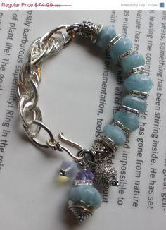 ON SALE chunky charm bracelet aquamarine bracelet by soulfuledges, $59.99
