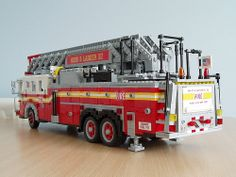 The FDNY operates a large number of ladder trucks. Lego Truck, Toy Trucks, Fire Trucks, Lego Fire, Lego Juniors, Amazing Lego Creations, Lego Blocks, All Lego, Fire Apparatus