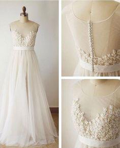 A-line V-neck Lace Appliqued Ivory Tulle Summer Wedding Dresses,apd2540