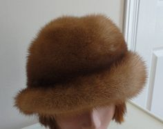 60s Light Brown Mink Fur Women Cloche Hat 60s Canada Extra
