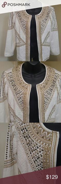 """Chico's Embroidered Sequence Jacket Size 1 NO OFFERS PLEASE Chico's Embroidered Sequence Jacket Size 1 Beautiful! Gorgous! Stunning! Like new. Size 1 Shoulder to shoulder 15"""" Bust 18"""" Arm length 21"""" Length 25"""" Please review pictures and ask all the questions you like. Thanks Chico's Jackets & Coats Blazers"""