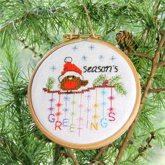 Ahh so cute - Seasons greetings Christmas Ornaments set of 3 cute festive robin by BirdSaysTweet  Cute Robin cross stitch pattern to make Christmas cards or ornaments to gift or keep. 5 other designs available at Birdsaystweet.etsy.com  Cross stitch cute little birds for you to stitch for your family or a personal gift for friends by Bird Says Tweet crossstitch family stitch craft xstitch crossstitcher embroidery etsygifts etsy broderie pointdecroix puntodecruz puntocroce kreuzstich…