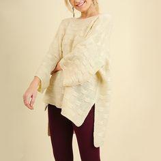 Oversized Cream Cross Knit Sweater