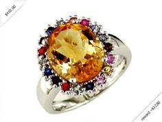Women's Citrine & Multi Color Sapphire Ring in 14K White Gold (4.70 ctw)