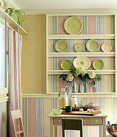 #plate rack  -  Like the idea of covering the back. Spray glue fabric would give many choices.