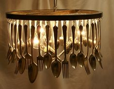Chandelier made from old silverware ...