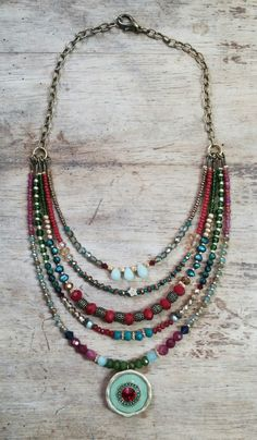 Five-line chain Mika Herbst Stone Jewelry, Beaded Jewelry, Handmade Jewelry, Beaded Necklace, Bohemian Necklace, Hippie Jewelry, Jewelry Sets, Jewelry Making, Multi Strand Necklace
