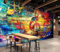 Wallpaper Removal – A Quick and Easy How-To Custom Wall Murals, 3d Wall Murals, Graffiti Murals, Graffiti Wallpaper, Music Wallpaper, Paper Wallpaper, Wallpaper Decor, Custom Wallpaper, Mural Cafe