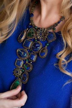 """Купить Колье """"Вдохновение"""" - тёмно-синий, натуральные камни, колье ручной работы, колье с камнями"""