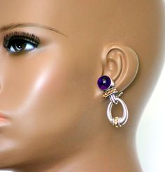 LAGOS 275.00 CABOCHON AMETHYST EARRINGS WITH CHARM DROP 925 STERLING SILVER 18K #LAGOS #DropDangle