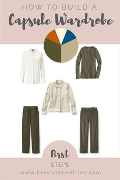 How to start a capsule wardrobe from scratch in a khaki, beige, teal, and rust, color palette - First Steps...would change the colors but excellent idea