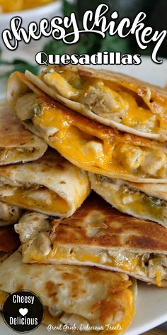 Chicken Appetizers, Recipes Appetizers And Snacks, Supper Recipes, Chicken Breast Recipes Dinners, Easy Chicken Recipes, Chicken Quesadillas, Cheesy Chicken Quesadilla Recipe, Diced Chicken, Marinated Chicken