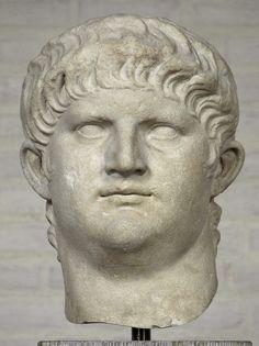 Emperor Nero, head of (colossal) Roman statue (marble), 1st century AD, (Glyptothek, Munich).