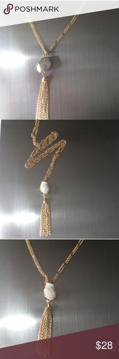 """Druzzy Gold Tone Tassle 2 Chain Necklace Druzzy Gold Tone Tassle 2 Chain Necklace. 36"""" chain with 4"""" Crystal White Geode Pendent. NWT. No trades. Jewelry Necklaces"""