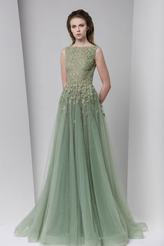 Green wedding dress frosting-inspired embellishment and tulle skirt // The Wedding Scoop's favorite Tony Ward wedding gowns and dresses