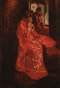 art-is-art-is-art: Girl in Red Kimono before Mirror, George Hendrik Breitner