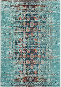 MNC208J Rug from Monaco collection.  Free-spirited and vibrantly colored, Monaco Collection rugs bring Bohemian-chic flair to folkloric and formal Persian designs. A mix of high and low loop pile is power-loomed of long-wearing polypropylene in classic textures and trendy erased-weave looks.