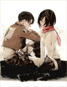 Levi x Mikasa ok, I'm not much for this ship (or like, at ALL) but the artwork is great. So...here ya go.