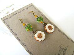 White Daisy Earrings, Glass Flower Earrings,  Vintage Botanical, Shabby Chic, Bohemian Earrings, FTD Awareness by moonlilydesigns on Etsy
