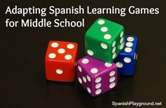 Suggestions for adapting a Spanish vocabulary dice game for middle schoolers. http://spanishplayground.net/spanish-learning-games-adapting-middle-school/