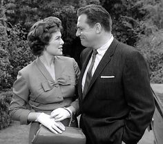 Della Street (Barbara Hale) and Perry Mason (Raymond Burr) in the field and very lovely dovey--just the way we like them!