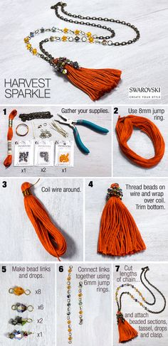 Keep your fall look on-trend with this chic DIY tassel chain from Swarovski and Cousin.