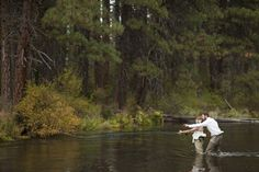 fly fishing couple... so sisters. OH WAIT, this wedding WAS in sisters!