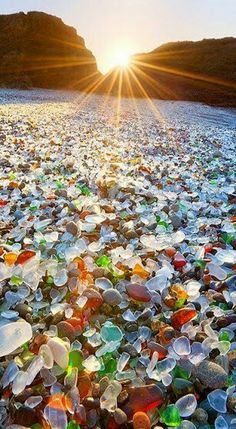 Beautiful sinrise and glass pebbles ......... .