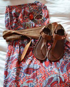 Tan sandals + Print dress