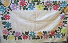 Hand embroidered vintage tablecloth/hand embroidered linen bedspread/old hungarian embroidery/handmade tablecloth/bedcover/unused