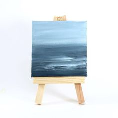 Mini abstract seascape with easel by Chelsea Kramer at Lost Coast Studio Acrylic Artwork, Watercolor Artwork, Chelsea, Coast, Studio, Abstract, Drawings, Artist, Cute