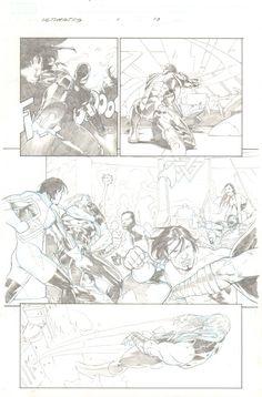 Ultimate Comics: The Ultimates #1 p.13 - Iron Man Action - Captain Britain vs. Thor Brawl in Asgard - 2011 art by Esad Ribic Comic Art